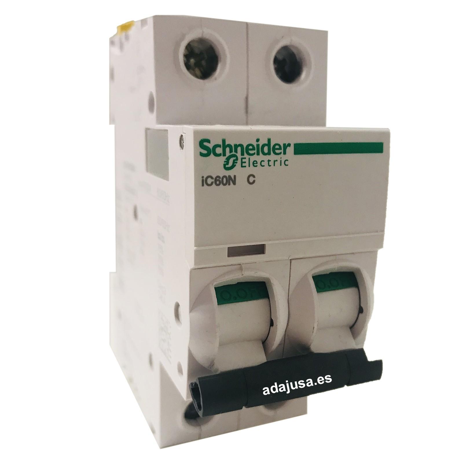 courbe C 2P 63A Schneider Electric A9F74263/IC60N Disjoncteur Acti9 50//60/Hz blanc